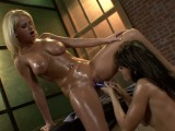 Oiled lesbians have fun together